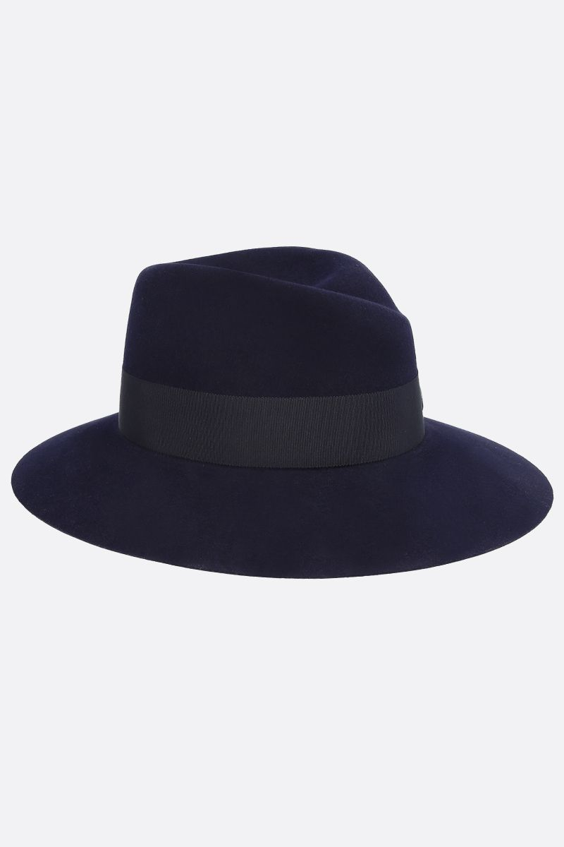 MAISON MICHEL: fedora Virginie in feltro di lapin waterproof Colore Blu_2