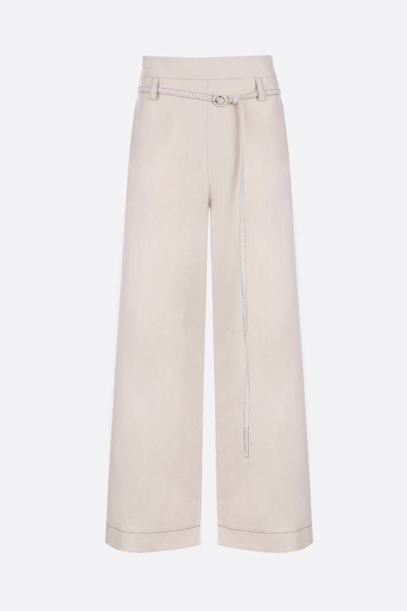MARNI: wool wide-leg pants with contrasting stitching Color White_1