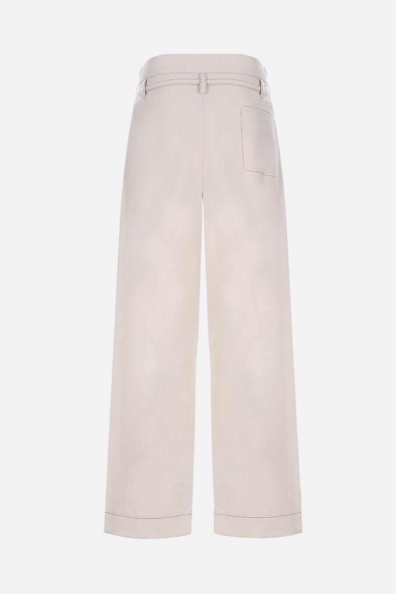 MARNI: wool wide-leg pants with contrasting stitching Color White_2