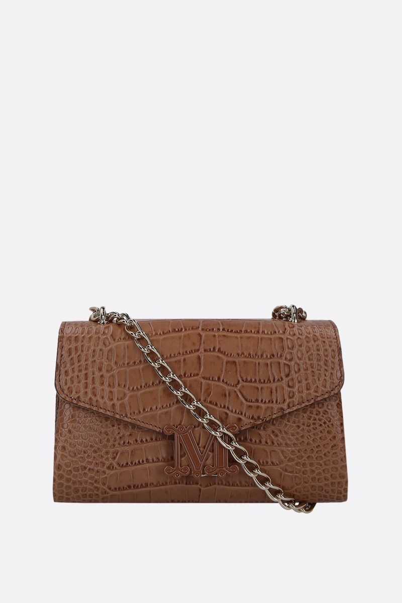 MAX MARA: Linda shoulder bag in crocodile embossed leather Color Neutral_1