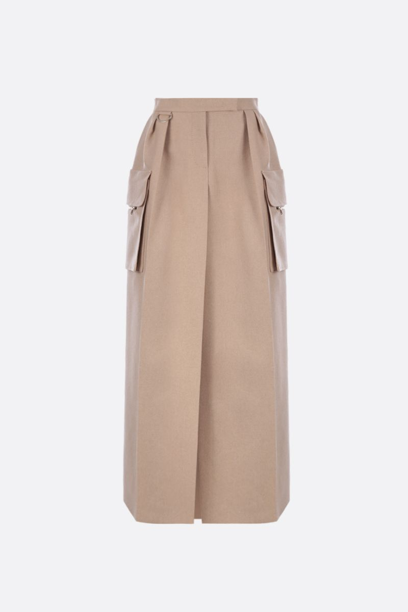 MAX MARA: Udente long skirt in camel cashmere blend Color Neutral_1