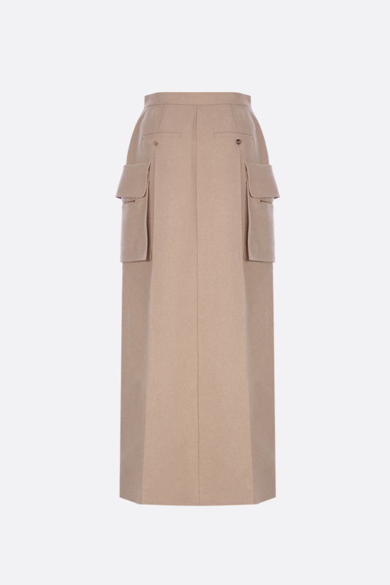 MAX MARA: Udente long skirt in camel cashmere blend Color Neutral_3