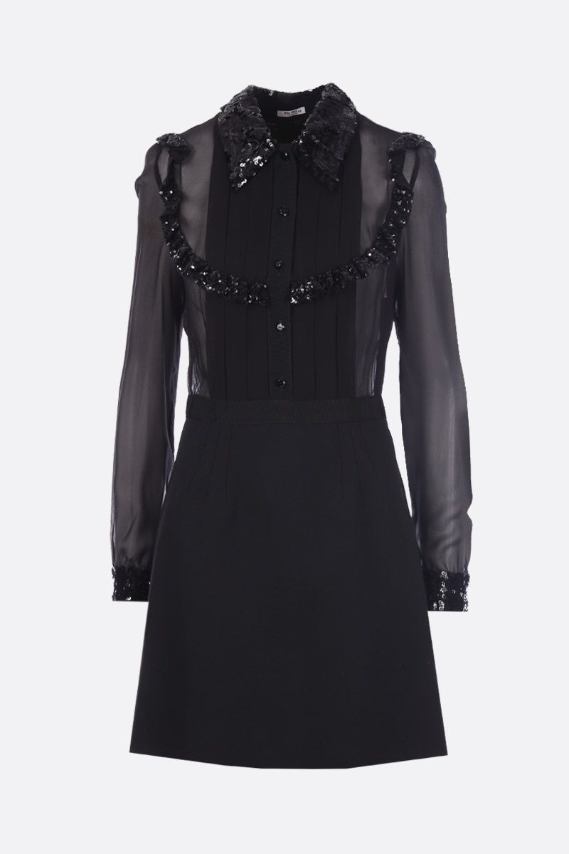 MIU MIU: silk and stretch wool short dress with sequinned details Color Black_1