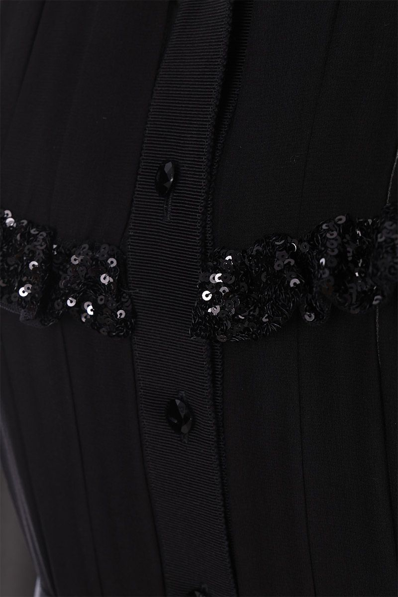 MIU MIU: silk and stretch wool short dress with sequinned details Color Black_3