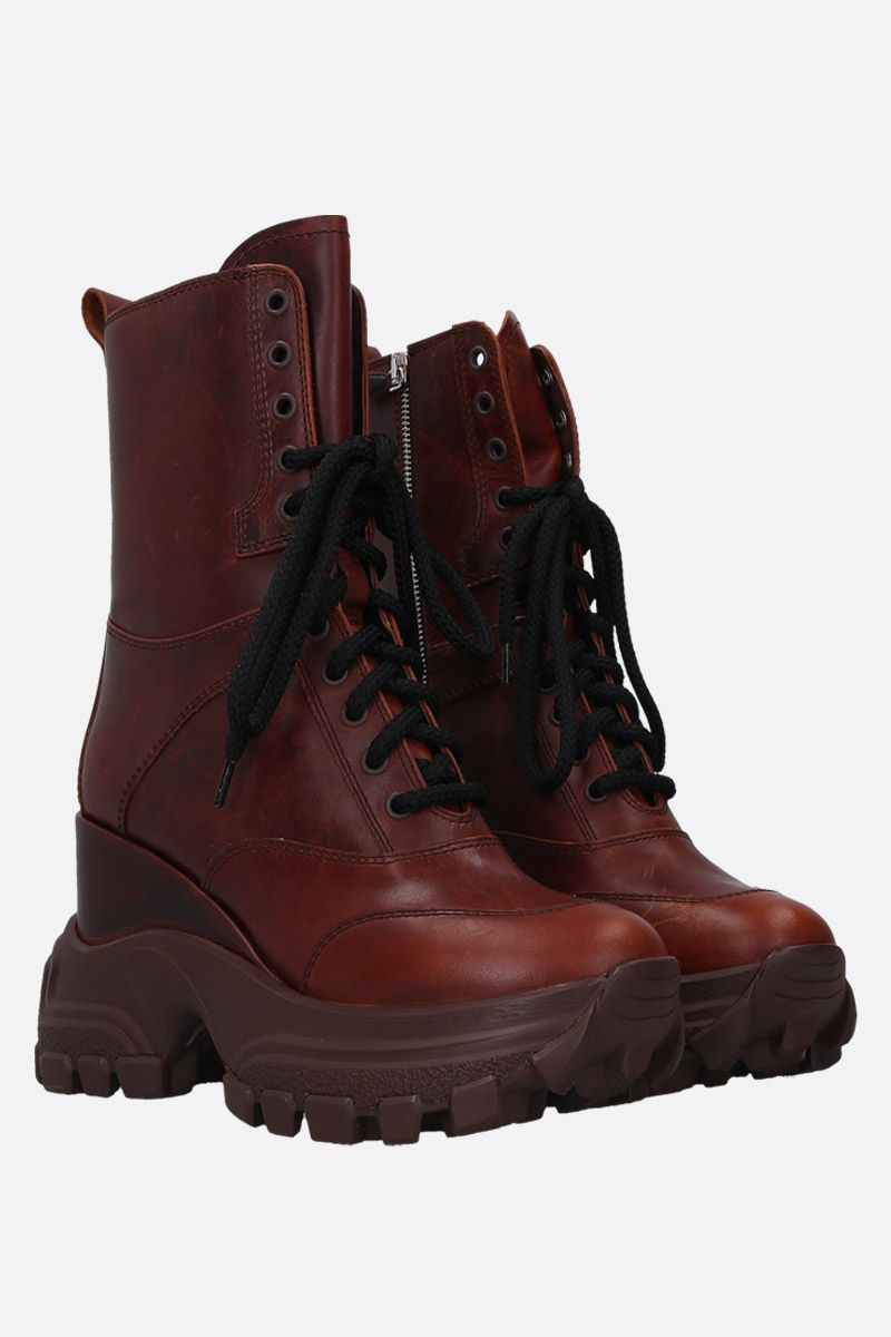 MIU MIU: smooth leather platform combat boots Color Brown_2