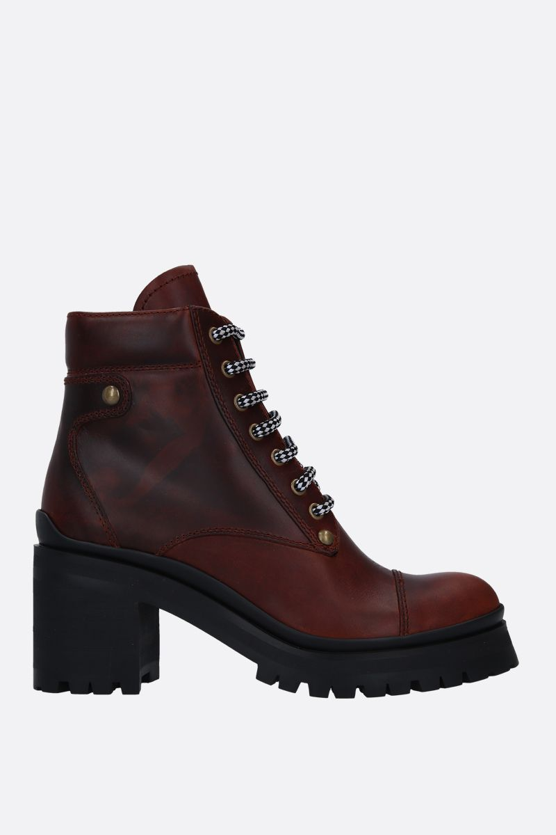 MIU MIU: rubberized leather lace-up booties Color Brown_1