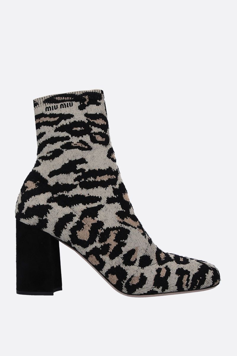 MIU MIU: leopard stretch knit ankle boots Color Yellow_1