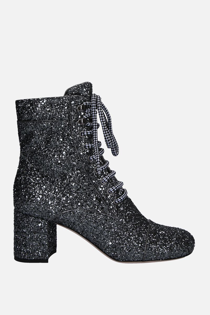 MIU MIU: glitter lace-up booties Color Grey_1