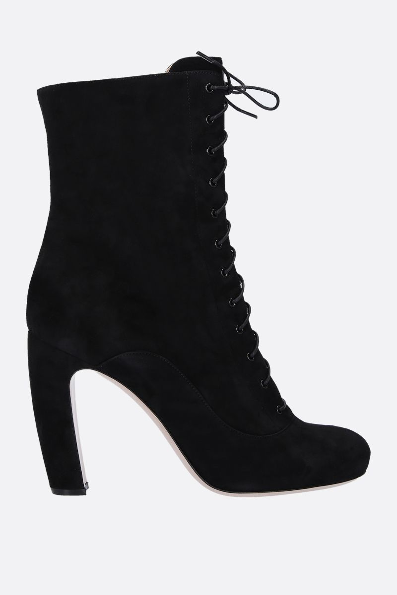 MIU MIU: suede lace-up booties Color Black_1
