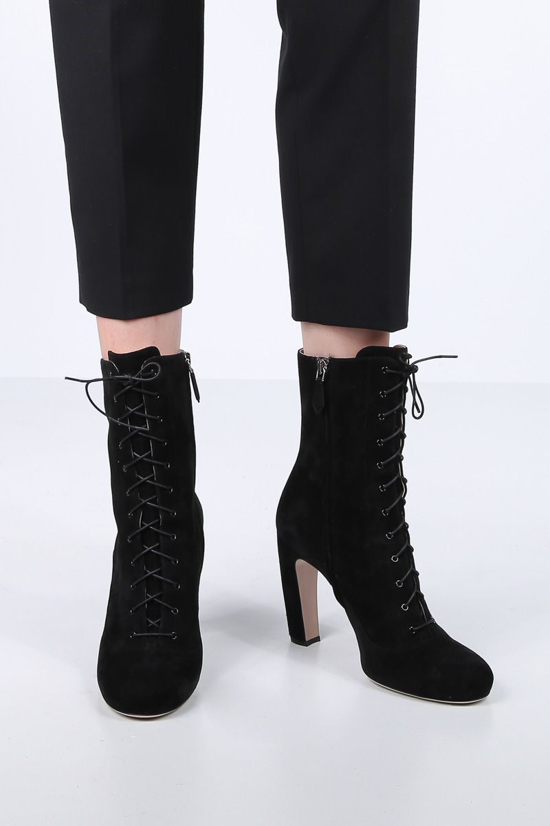 MIU MIU: suede lace-up booties Color Black_2