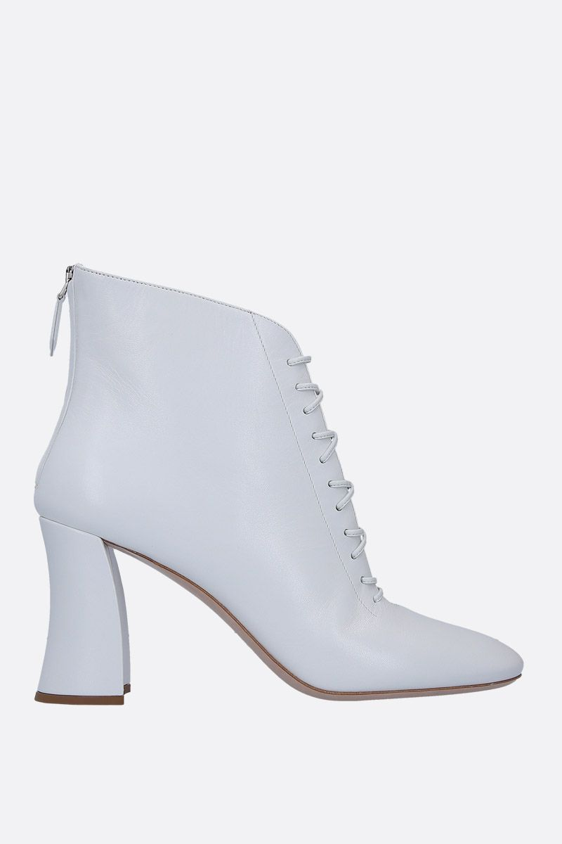 MIU MIU: soft nappa lace-up booties Color White_1