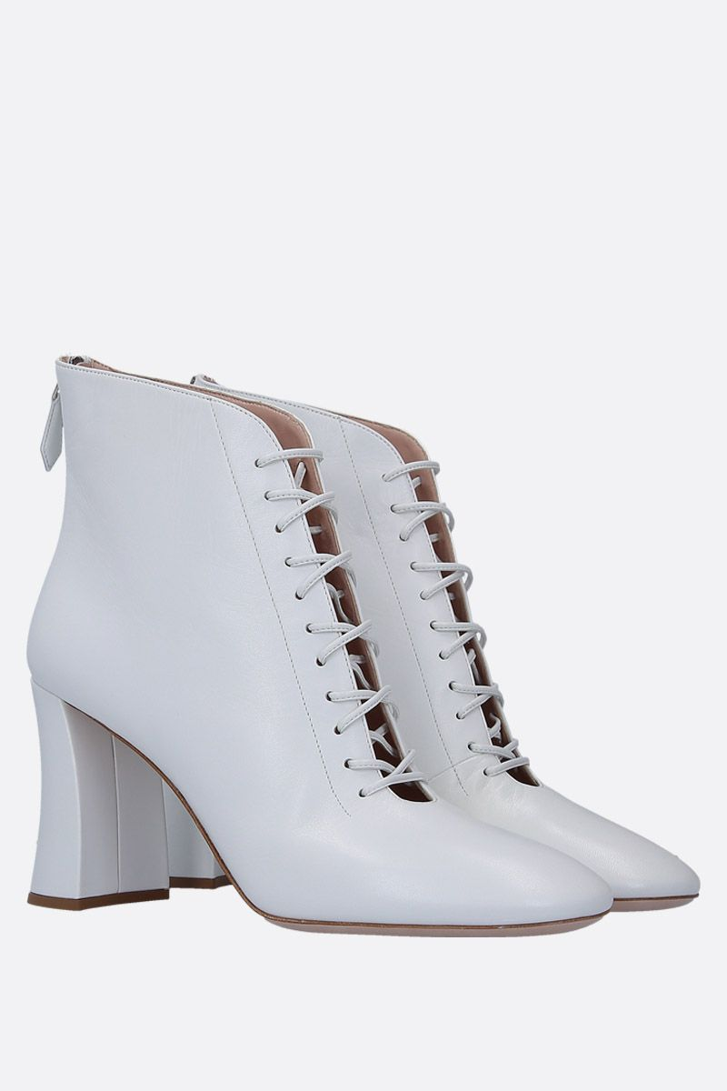 MIU MIU: soft nappa lace-up booties Color White_2