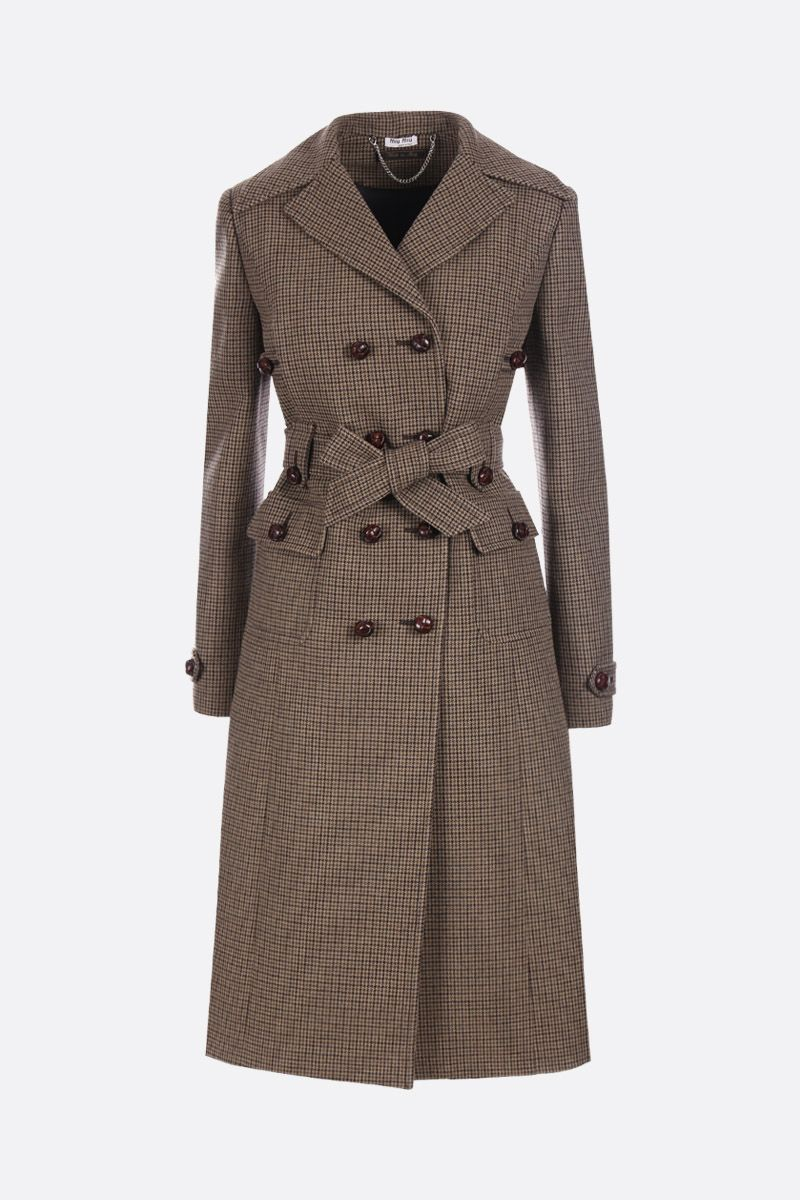 MIU MIU: houndstooth wool blend double-breasted coat_1