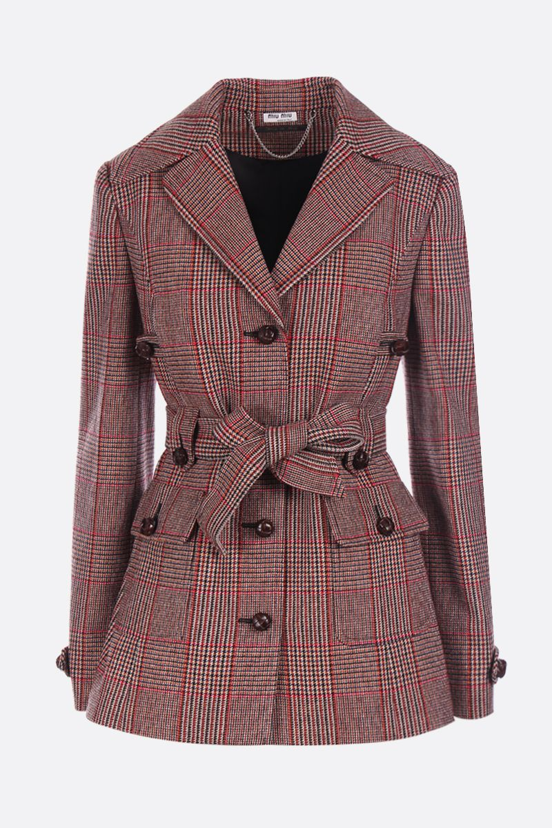 MIU MIU: prince of Wales wool blend single-brested jacket Color Red_1