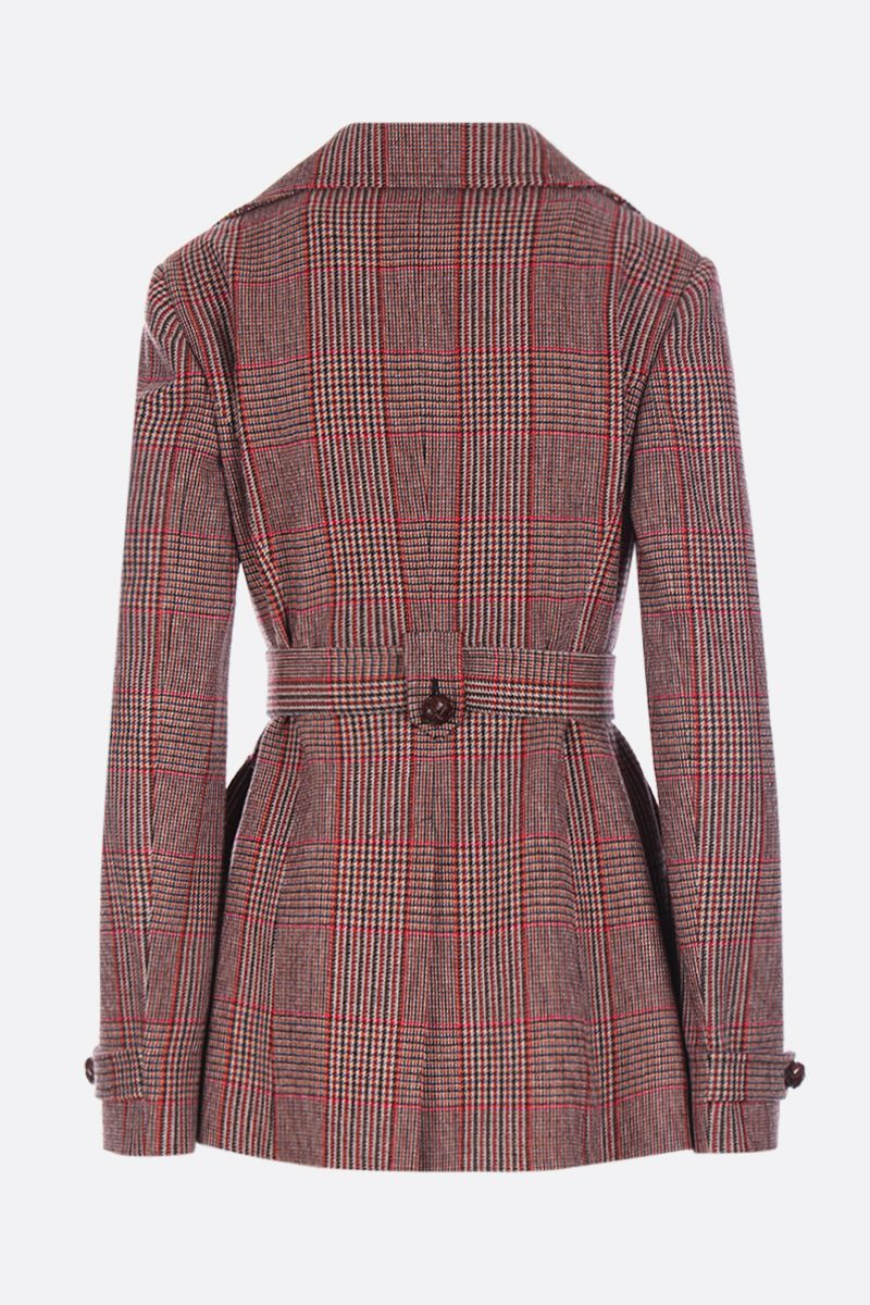MIU MIU: prince of Wales wool blend single-brested jacket Color Red_2