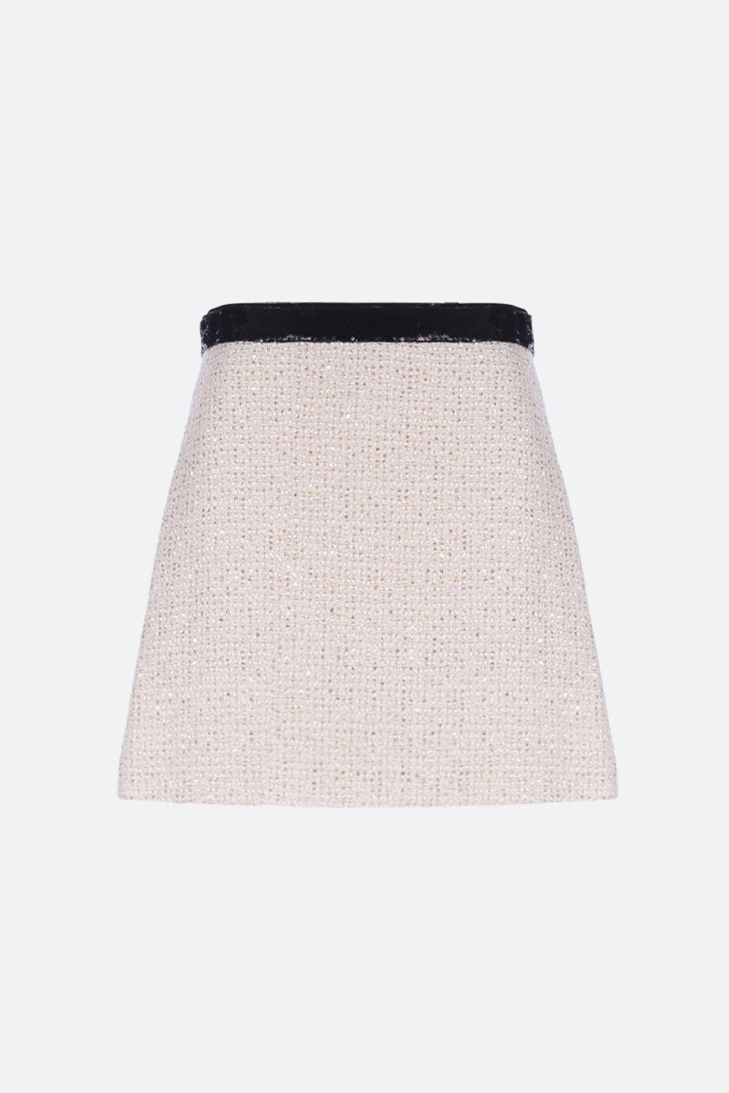 MIU MIU: tweed A-line miniskirt with sequins Color White_1