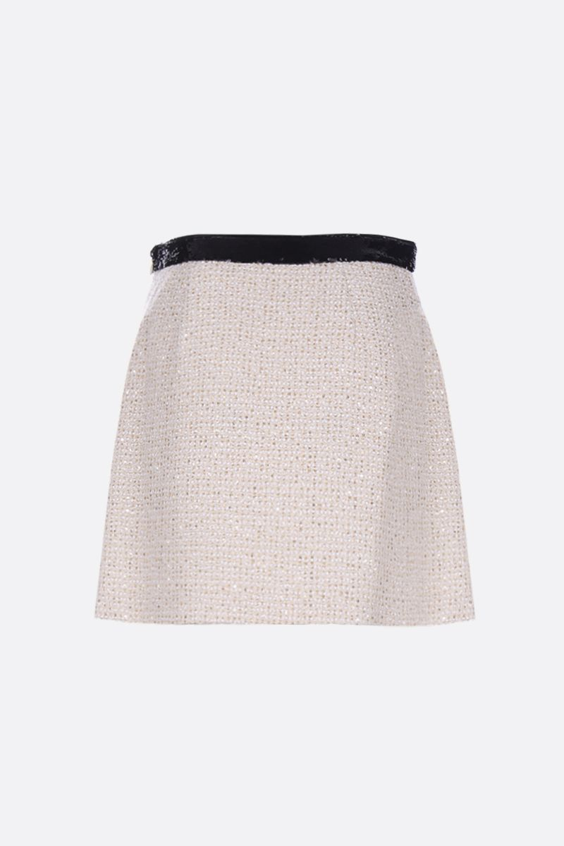 MIU MIU: tweed A-line miniskirt with sequins Color White_2