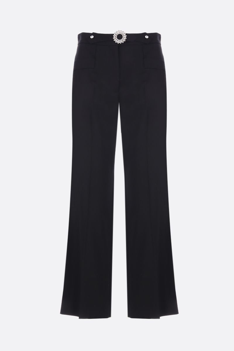MIU MIU: stretch wool cropped pants with jeweled buckle Color Black_1