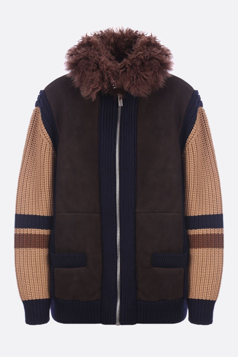MIU MIU: shearling full-zip jacket with wool knit inserts_1