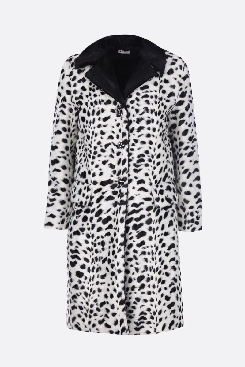 MIU MIU: faux fur single-breasted coat with animalier print Color Neutral_1