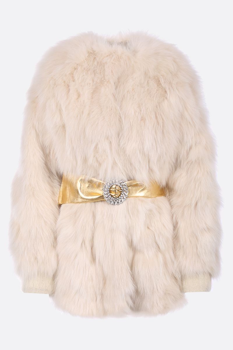 MIU MIU: fox fur jacket with jewe belt_1