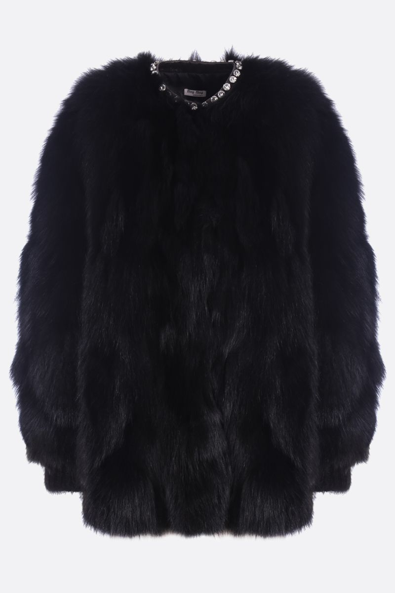 MIU MIU: fox fur coat Color Black_1