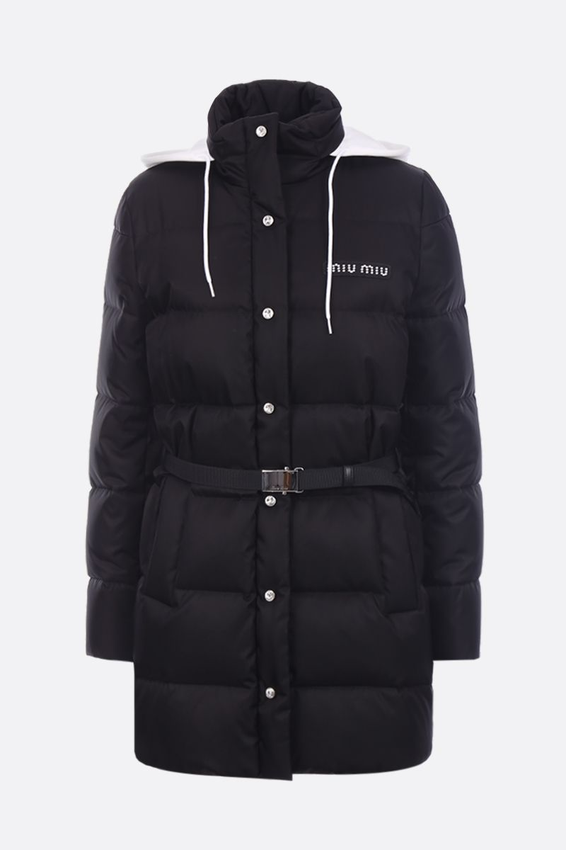 MIU MIU: long down jacket in nylon gabardine with logoed patch Color Black_1