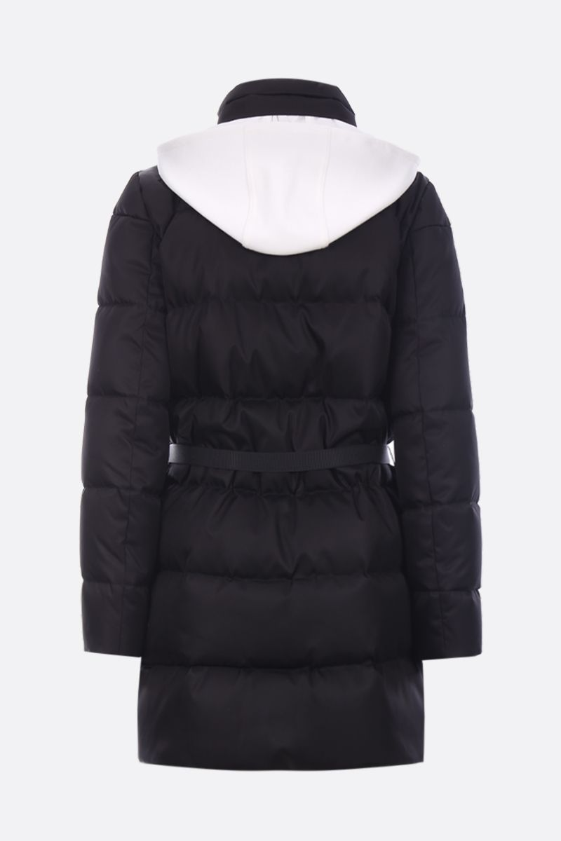 MIU MIU: long down jacket in nylon gabardine with logoed patch Color Black_2