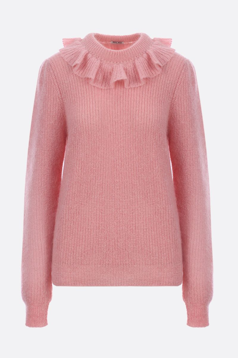 MIU MIU: mohair blend pullover with frilled detail Color Pink_1