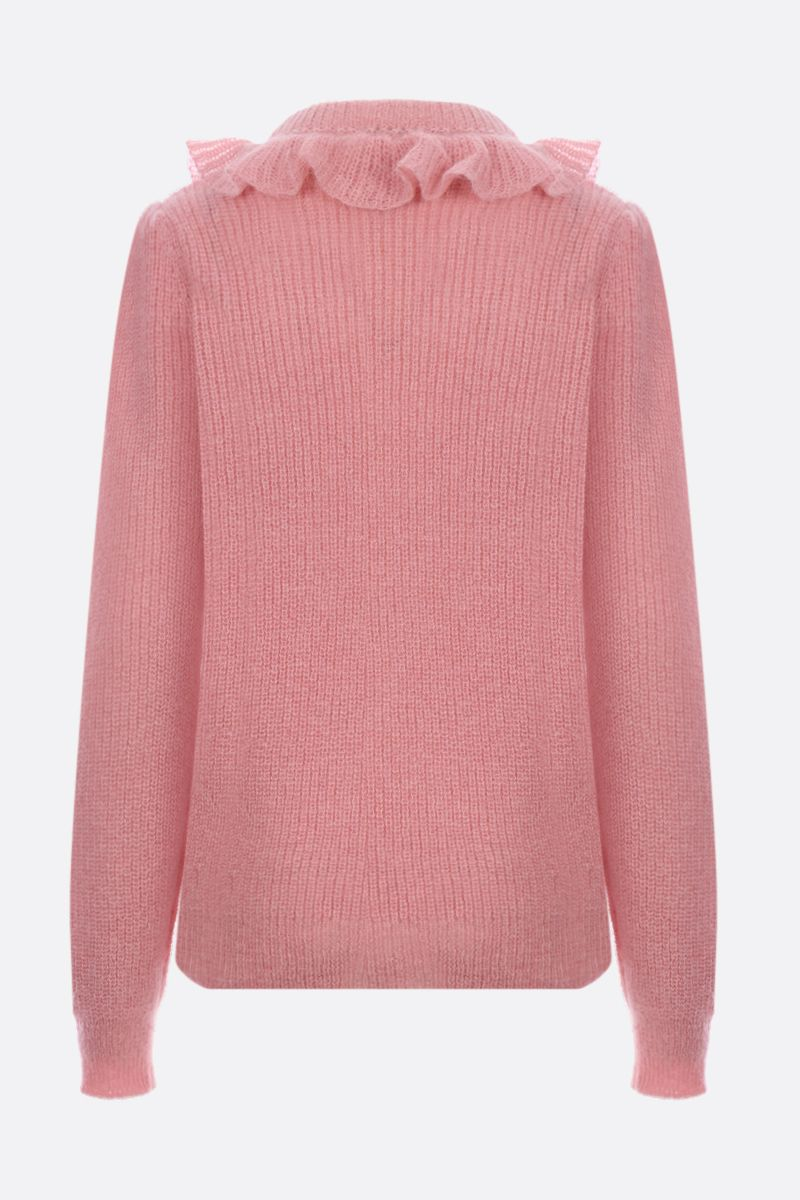MIU MIU: mohair blend pullover with frilled detail Color Pink_3