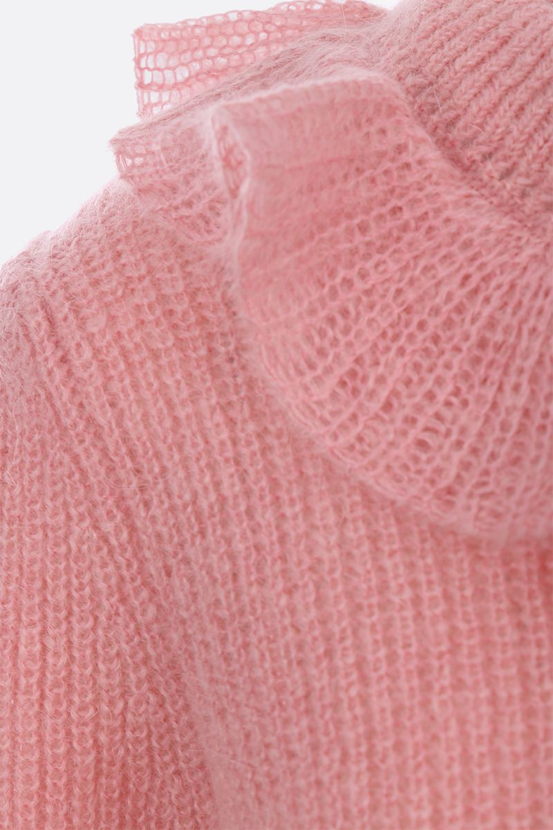 MIU MIU: mohair blend pullover with frilled detail Color Pink_4