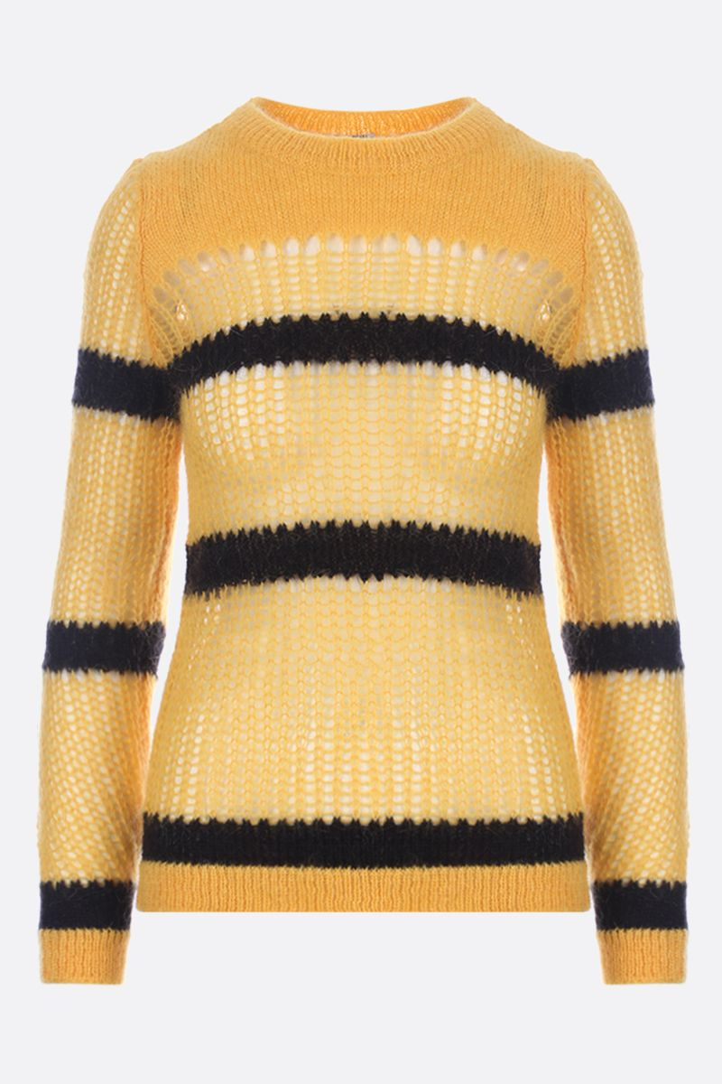 MIU MIU: striped mohair knit pullover Color Yellow_1