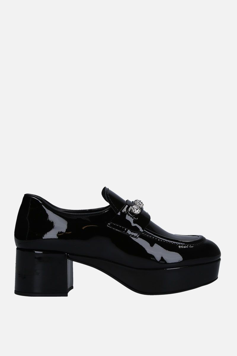 MIU MIU: platform loafers in patent leather with crystals Color Black_1