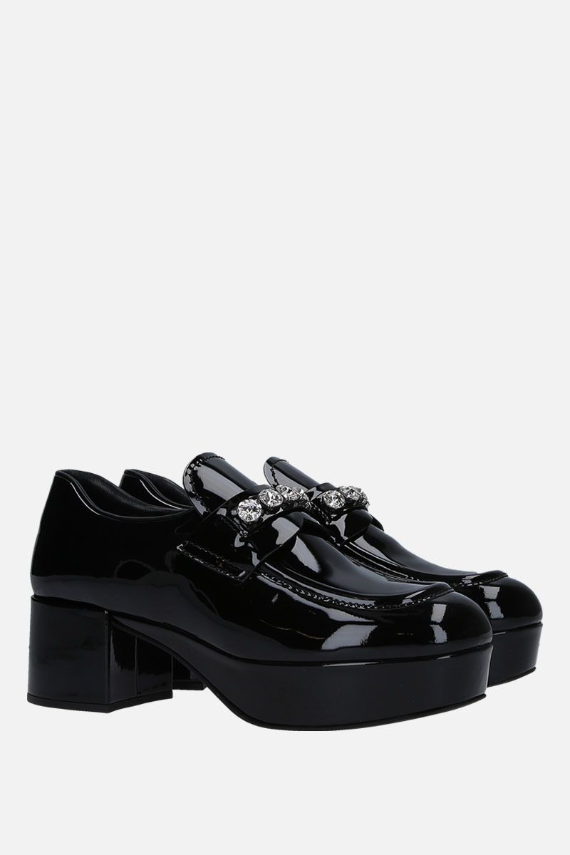 MIU MIU: platform loafers in patent leather with crystals Color Black_2
