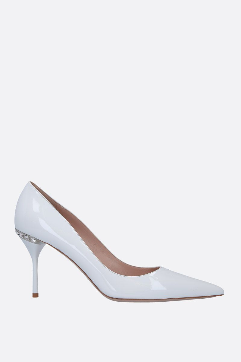 MIU MIU: patent leather pumps with crystals Color White_1