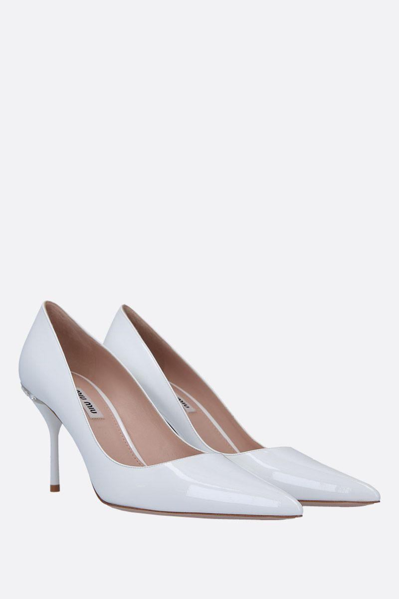 MIU MIU: patent leather pumps with crystals Color White_2