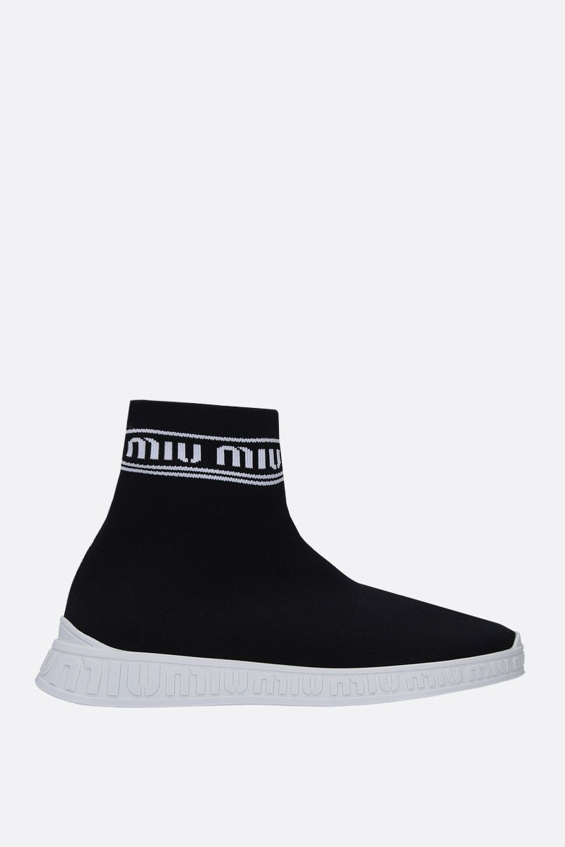 MIU MIU: stretch knit pull-on sneakers Color Black_1
