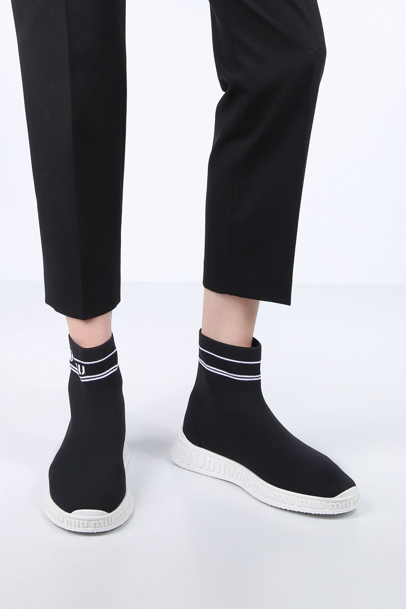 MIU MIU: stretch knit pull-on sneakers Color Black_2
