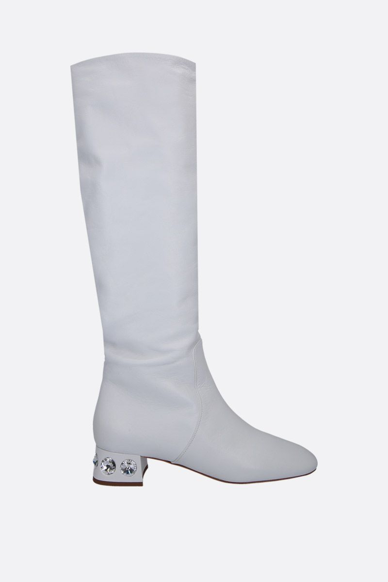MIU MIU: Madras leather boots with crystals Color White_1