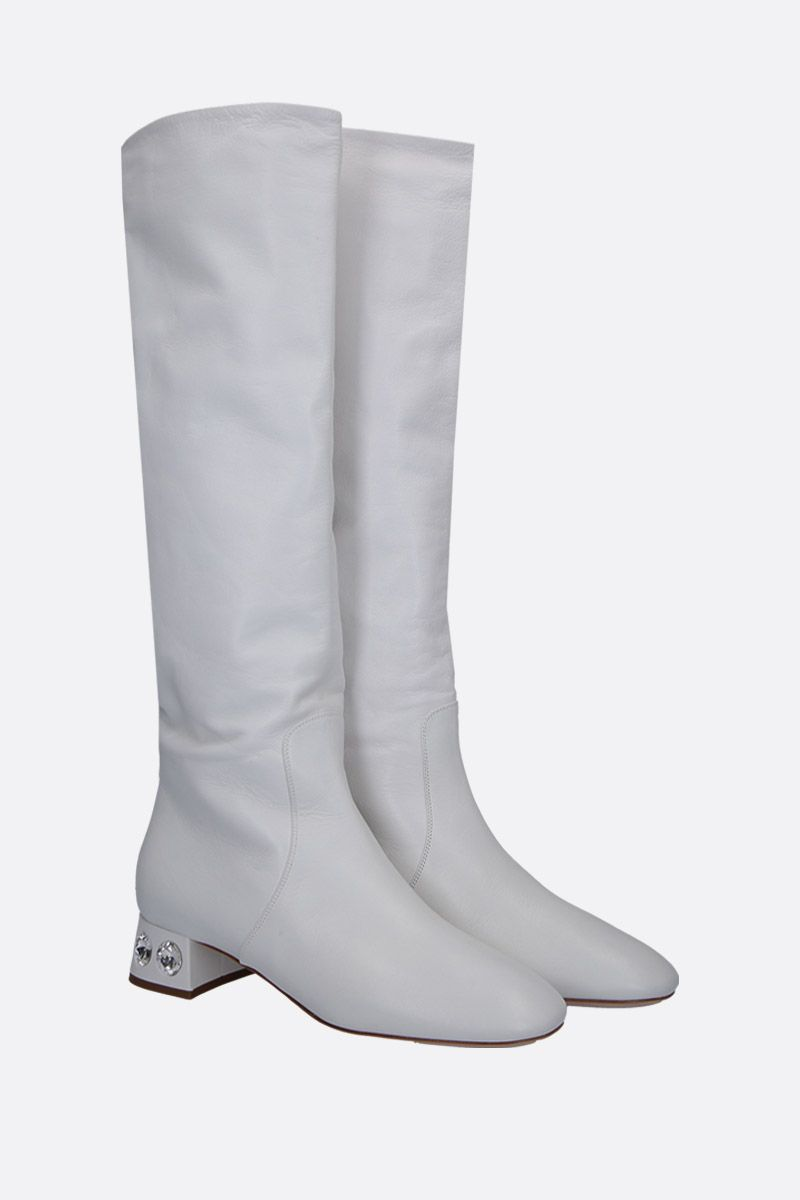 MIU MIU: Madras leather boots with crystals Color White_2