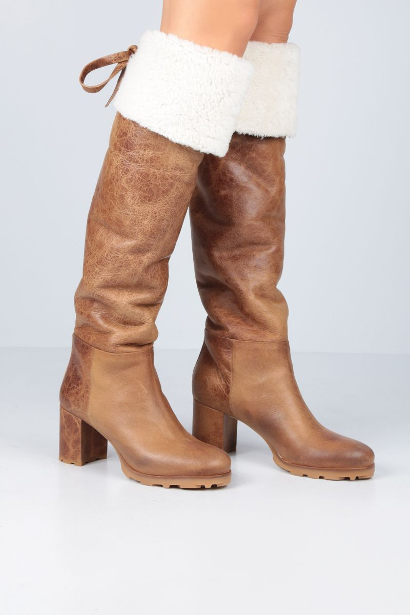 MIU MIU: vintage-effect shearling over-the-knee boots Color Brown_2