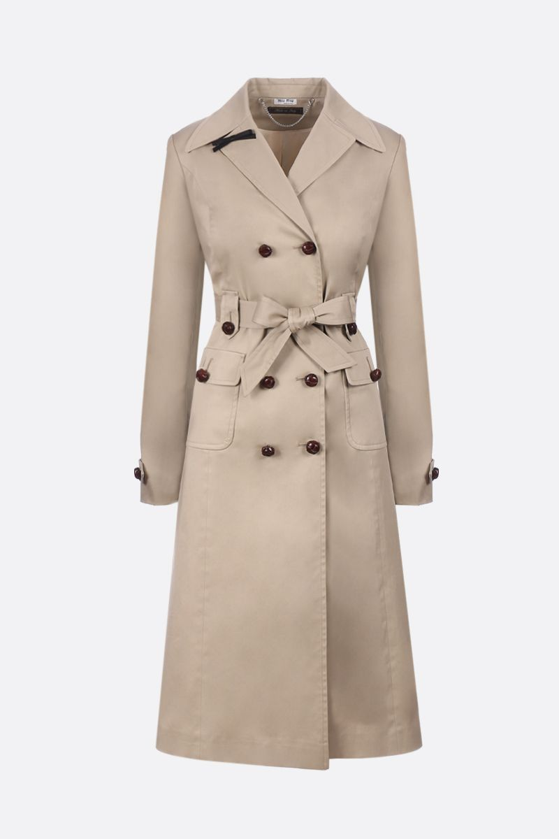 MIU MIU: stretch gabardine double-breasted trench coat Color Brown_1