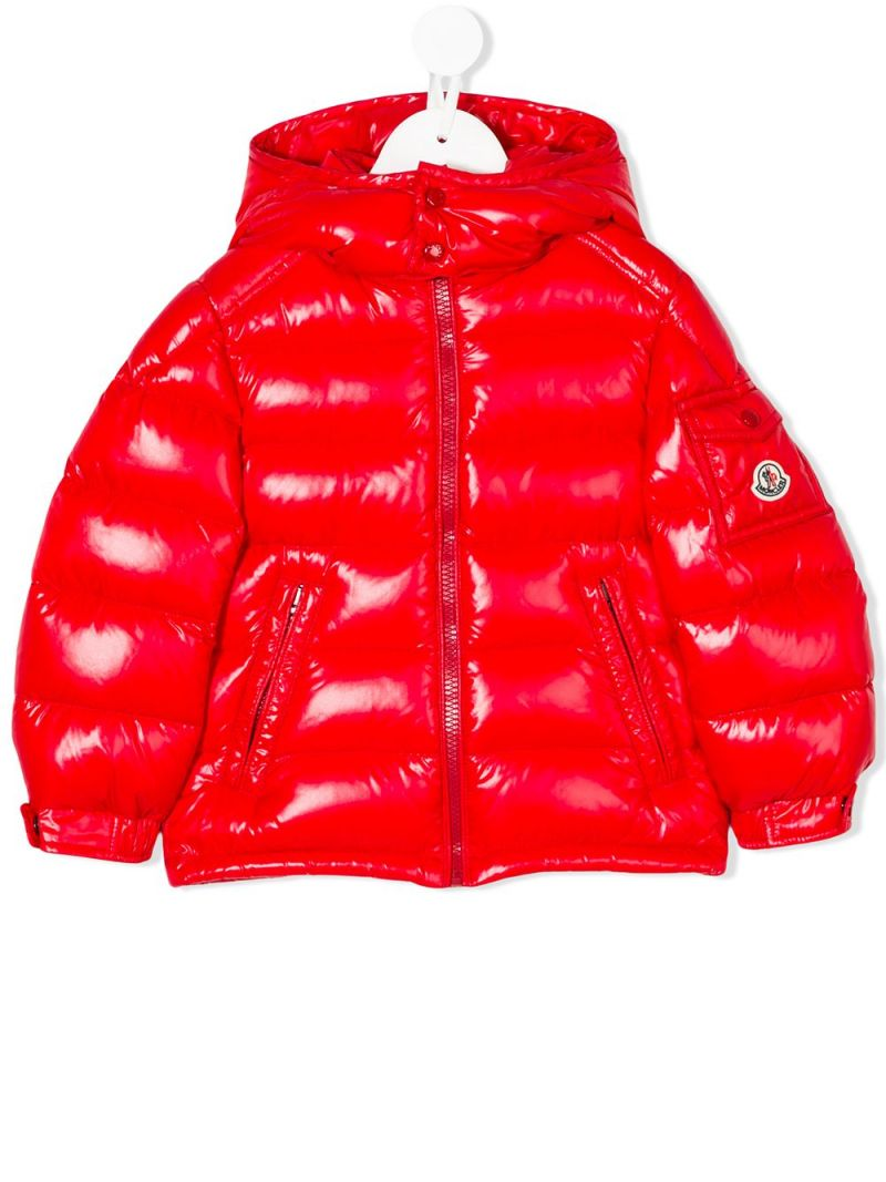 MONCLER KIDS: New Maya down jacket in laquè nylon Color Red_1