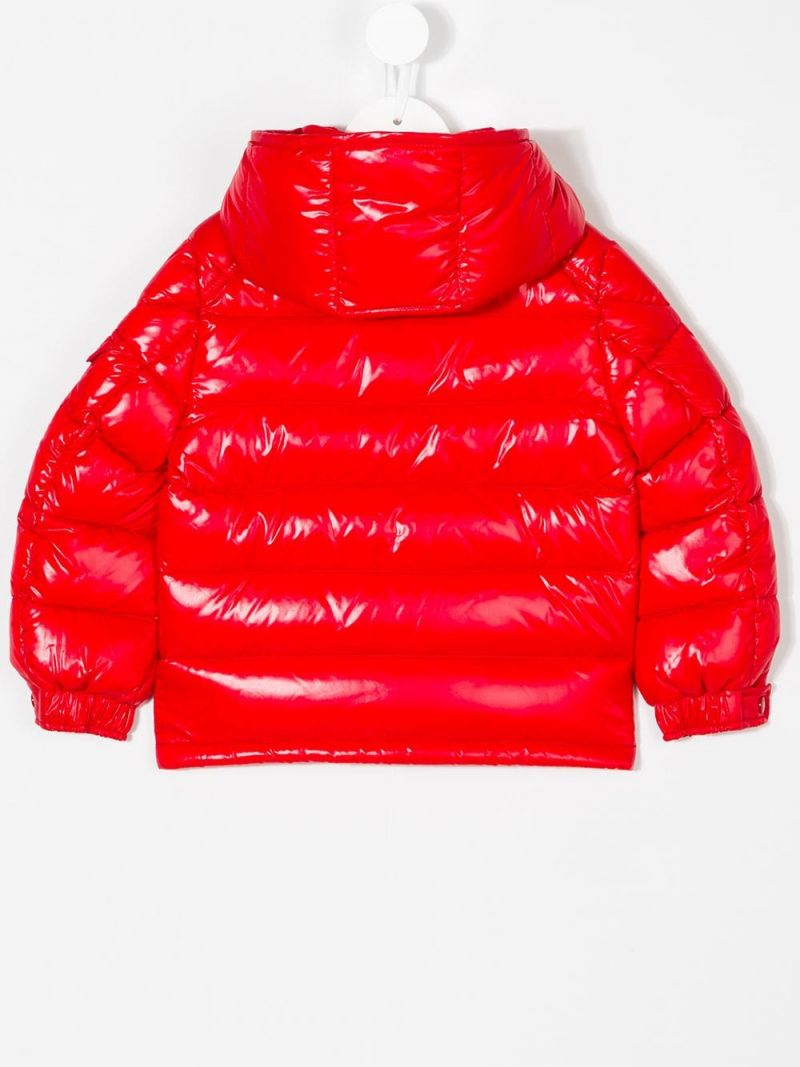 MONCLER KIDS: New Maya down jacket in laquè nylon Color Red_2
