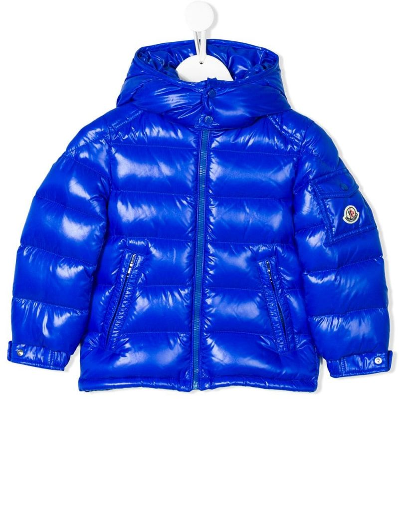 MONCLER KIDS: New Maya down jacket in shiny nylon Color Blue_1