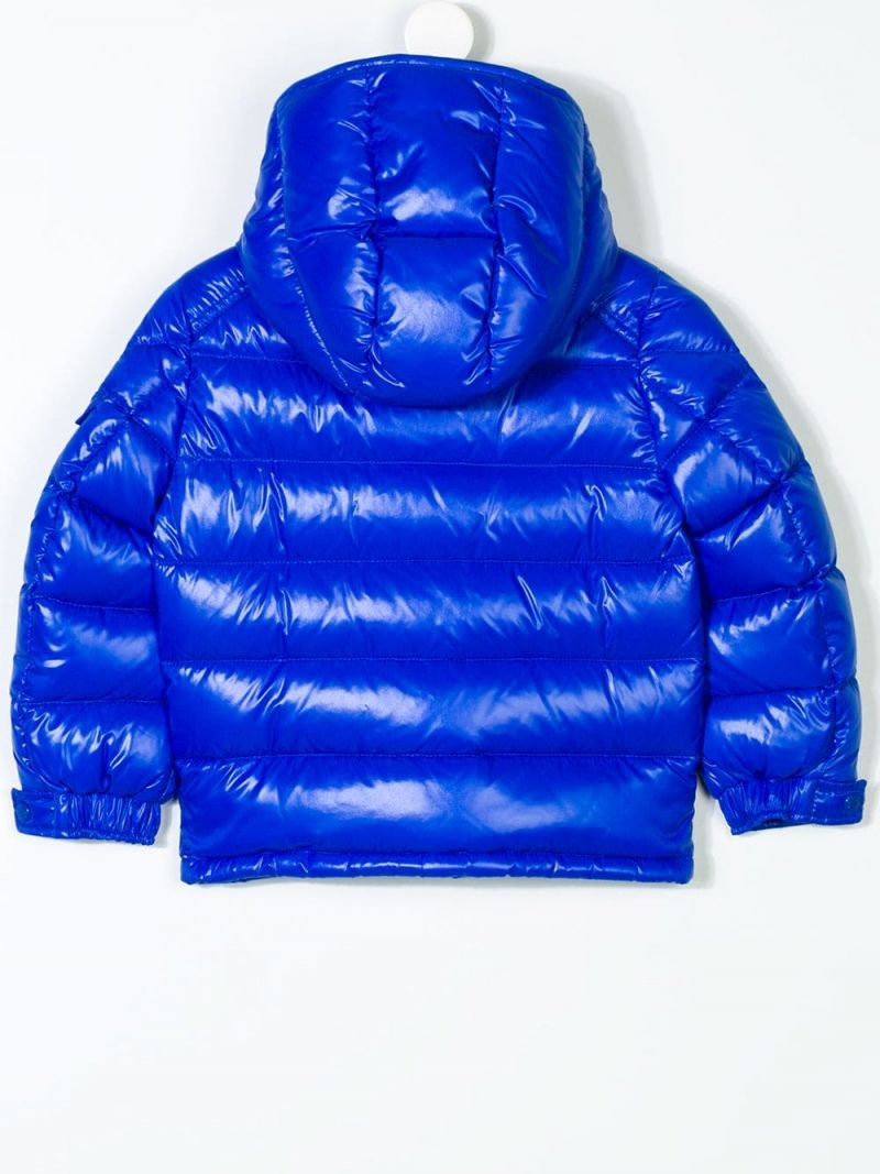MONCLER KIDS: New Maya down jacket in shiny nylon Color Blue_2