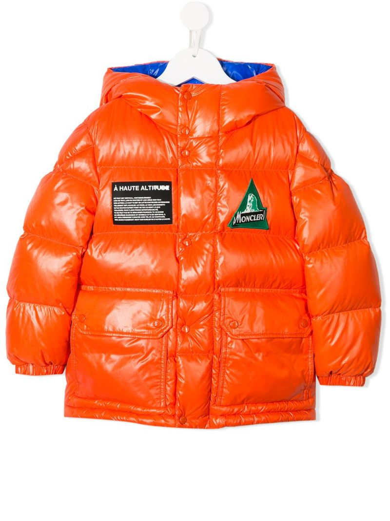 MONCLER KIDS: Ubaye down jacket in shiny nylon Color Red_1