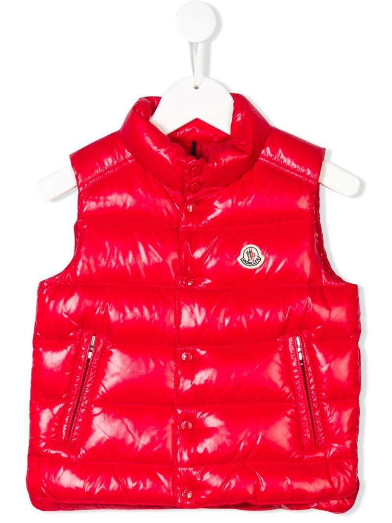 MONCLER KIDS: Tib sleeveless down jacket in laquè nylon Color Red_1