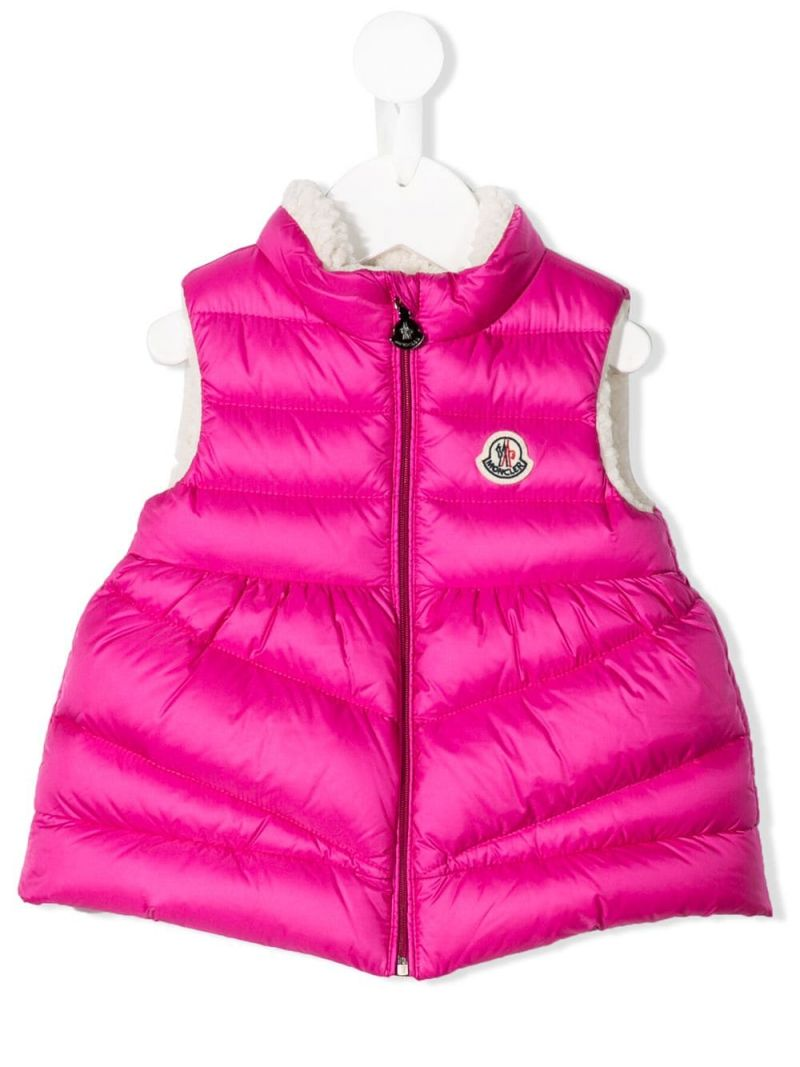 MONCLER KIDS: Lama sleeveless down jacket in nylon Color Pink_1