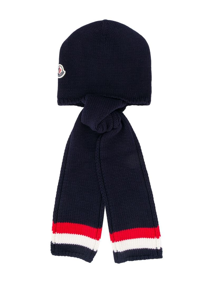 MONCLER KIDS: wool beanie with ear flaps Color Blue_1
